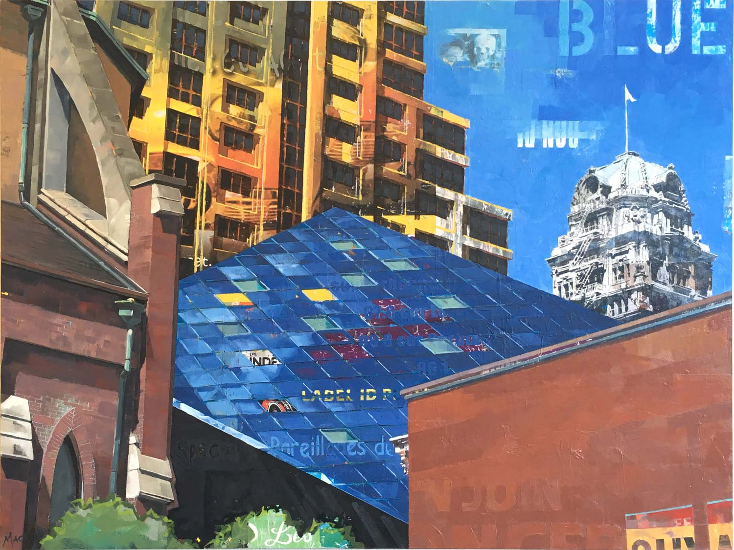 "Catherine Mackey, ""Blue - San Francisco Juxtaposition"", 30""x40"", mixed media on panel"
