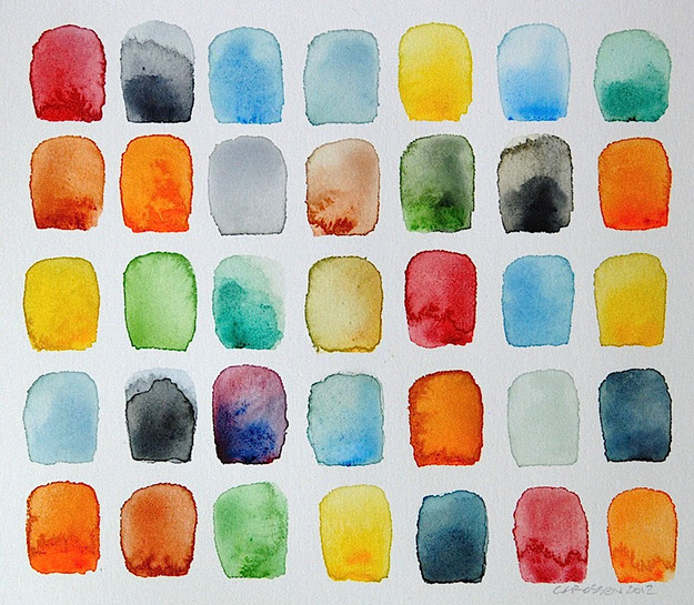 "Chris Crossen, ""Study for Multi-Colored Squares"", 10""x11"", watercolor on paper"