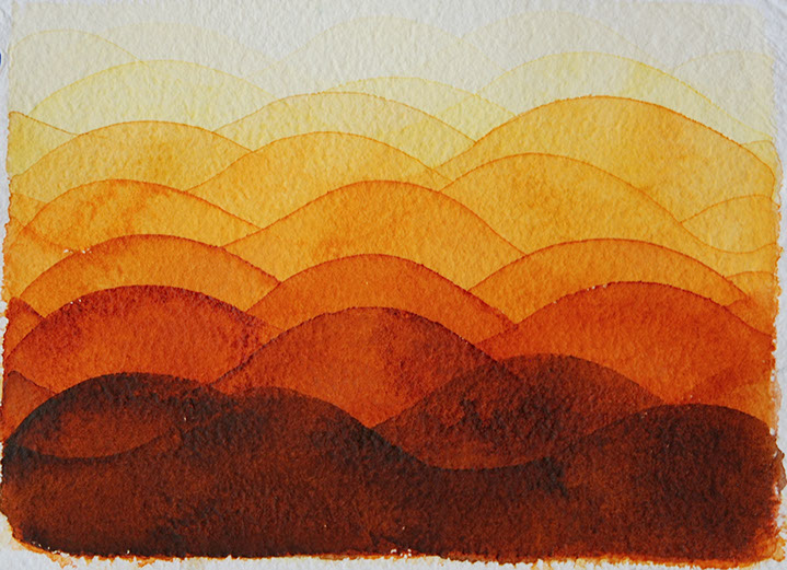 "Chris Crossen, ""Orange Wave Small Study"", 10""x11"", watercolor on paper"