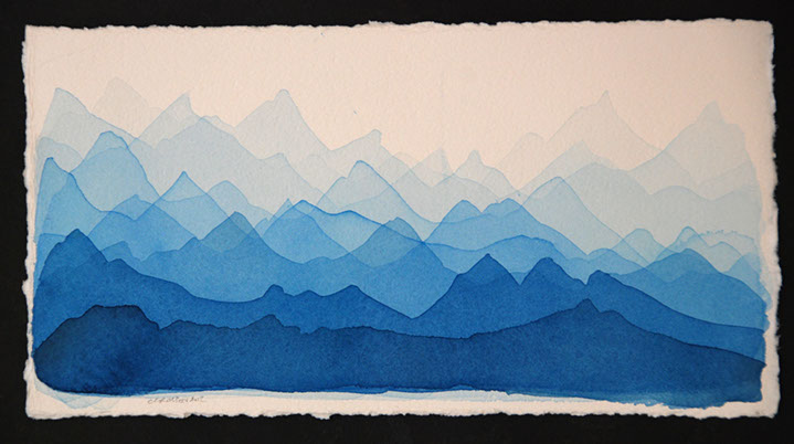 "Chris Crossen, ""Mountain Study Blue"", 6""x12"", watercolor on paper"