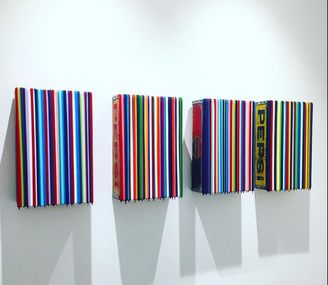 "Gian Garofalo, ""Soda Pop Series"", 18"" x 12"" each, mixed media on panel"