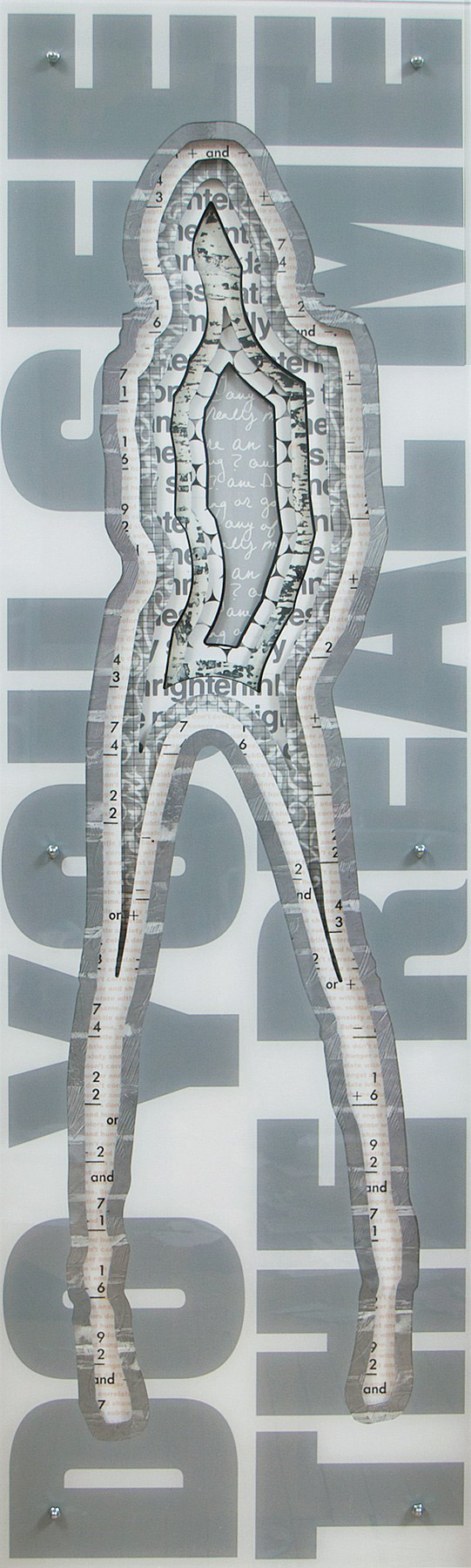 "Jane Maxwell, ""Do You See the Real Me"", 77""x24""x5"", mixed media sculpture"