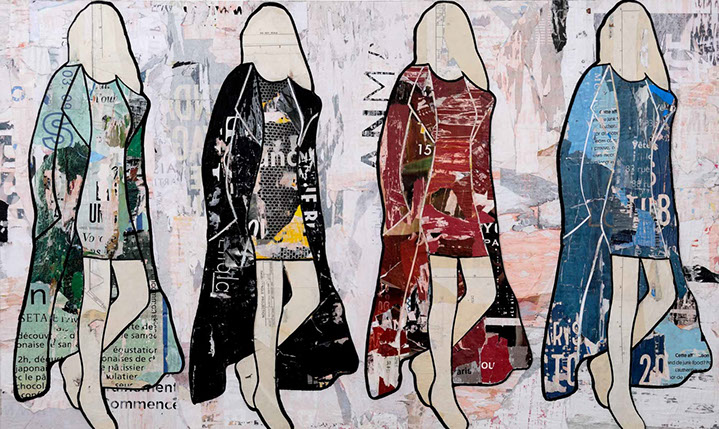 "Jane Maxwell, ""Walking Girls Multi"", 36""x60"", mixed media on panel"