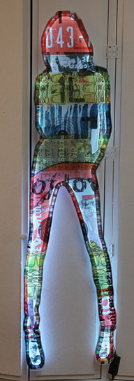 "Jane Maxwell, ""043"", 70""x15"", collage on plexi with LED lights"