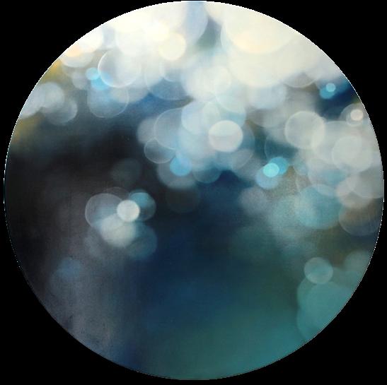 """Jenn Shifflet, """"Cobalt Light"""", 30"""" diameter, oil on panel"""