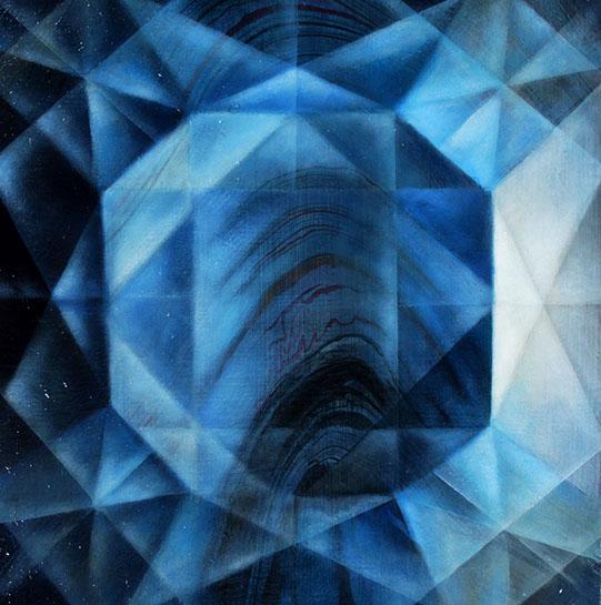 "Jenn Shifflet, ""Ultramarine Blue Facets"", 12""x12"", oil and collage on panel"