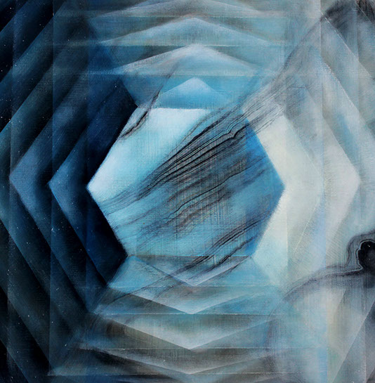 """Jenn Shifflet, """"Steelblue Facets"""", 12""""x12"""", oil and collage on panel"""