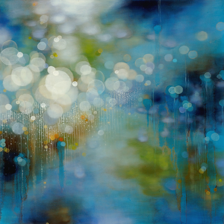 "Jenn Shifflet, ""Azul Light Drops"", 24""x24"", oil on panel"