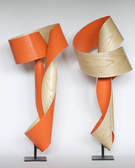 "Jeremy Holmes, untitled (orange free-standing), 40""x22""x18"", wood, acrylic and steel"