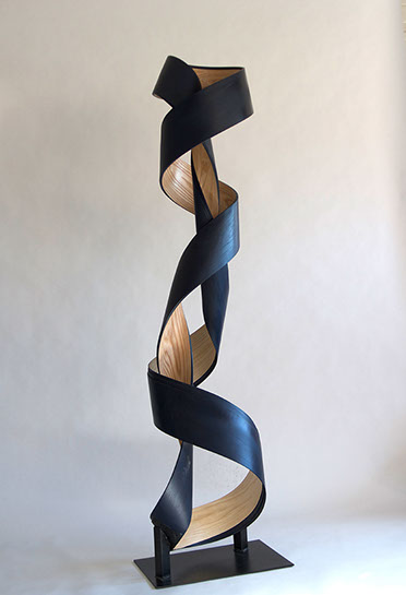 "Jeremy Holmes, untitled (blue totem), 72""x12""x10"", wood, acrylic and steel"