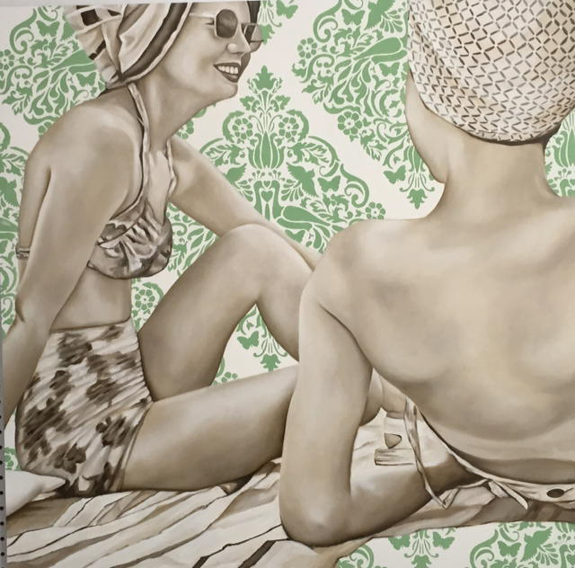 "Jhina Alvarado, ""Girlfriends on the Beach"", 36""x36"", oil and encaustic on panel"