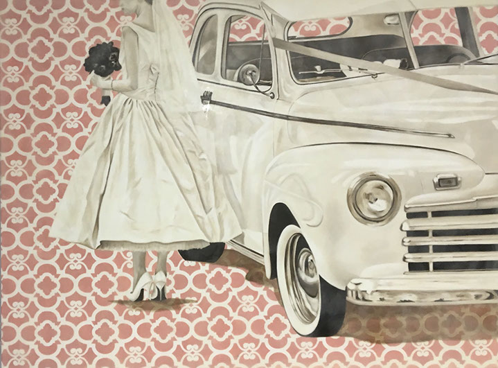 """Jhina Alvarado, """"Going to the Chapel"""", 36""""x48"""", oil and encaustic on panel"""