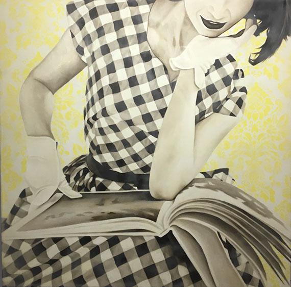 "Jhina Alvarado, ""Sunday Reader"", 48""x48"", oil and encaustic on panel"