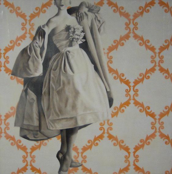 """Jhina Alvarado, """"I Feel Pretty"""", 36""""x36"""", oil and encaustic on panel"""