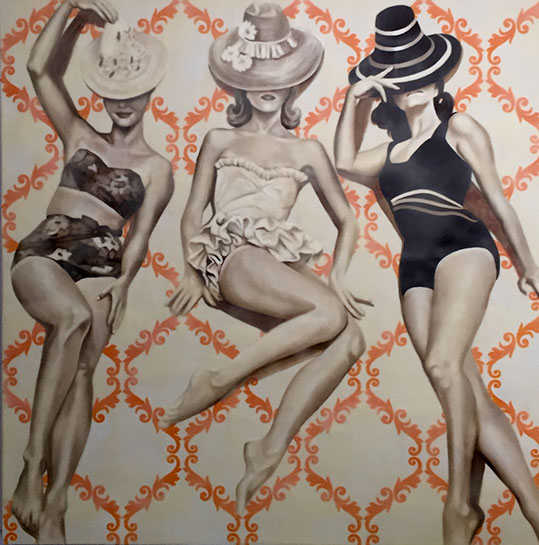 """Jhina Alvarado, """"Girls With Hats"""", 48""""x48"""", oil and encaustic on panel"""