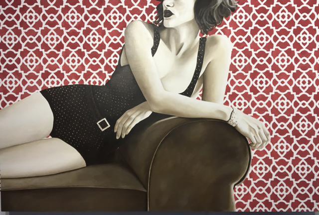 "Jhina Alvarado, ""Chaise Lounge #2"", 48""x72"", oil and encaustic on panel"