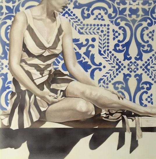 "Jhina Alvarado, ""Stiped Dress"", 24""x24"", oil and encaustic on panel"