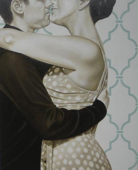 "Jhina Alvarado, ""Slow Dance"", 30""x24"", oil and encaustic on panel"