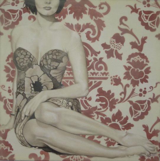 "Jhina Alvarado, ""Poppy"", 20""x20"", oil and encaustic on panel"