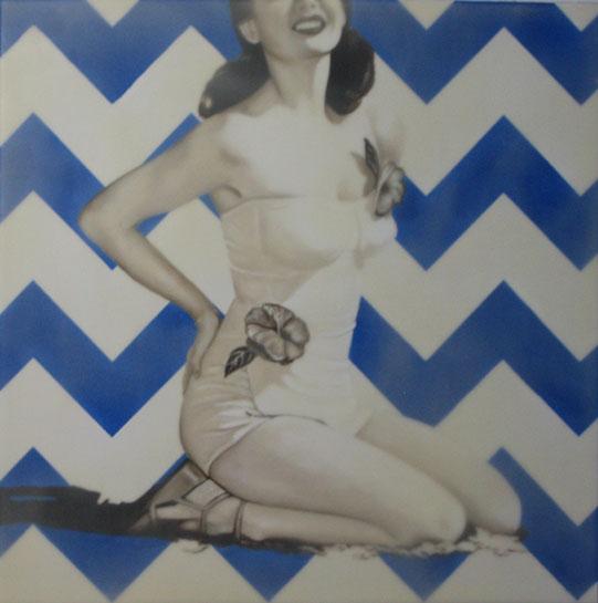 "Jhina Alvarado, ""Flower Suit"", 20""x20"", oil and encaustic on panel"