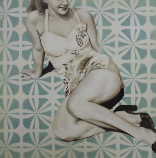 "Jhina Alvarado, ""Tropical Paradise"", 16""x16"", oil and encaustic on panel"