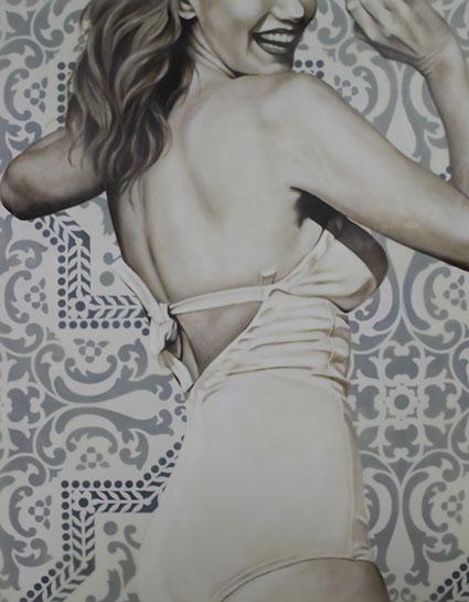 "Jhina Alvarado, ""Playful"", 30""x24"", oil and encaustic on panel"