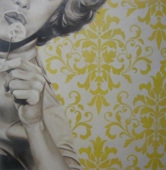 "Jhina Alvarado, ""Make a Wish"", 24""x24"", oil and encaustic on panel"