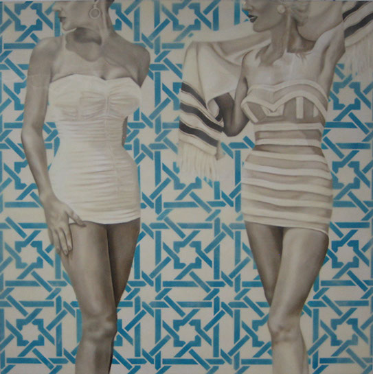"Jhina Alvarado, ""Mediterranean"", 36""x36"", oil and encaustic on panel"