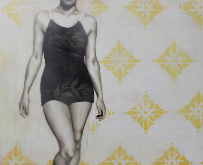 "Jhina Alvarado, ""Untitled Yellow"", 20""x24"", oil and encaustic on panel"