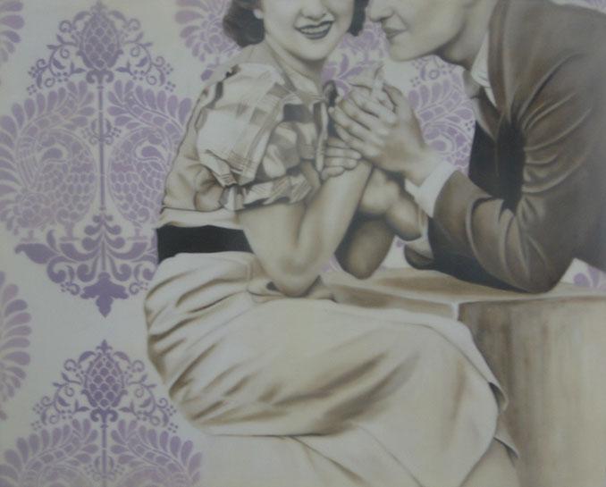"Jhina Alvarado, ""The Courtship"", 24""x30"", oil and encaustic on panel"