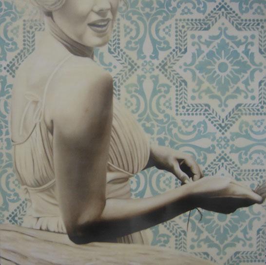 "Jhina Alvarado, ""Wholesome"", 36""x36"", oil and encaustic on panel"