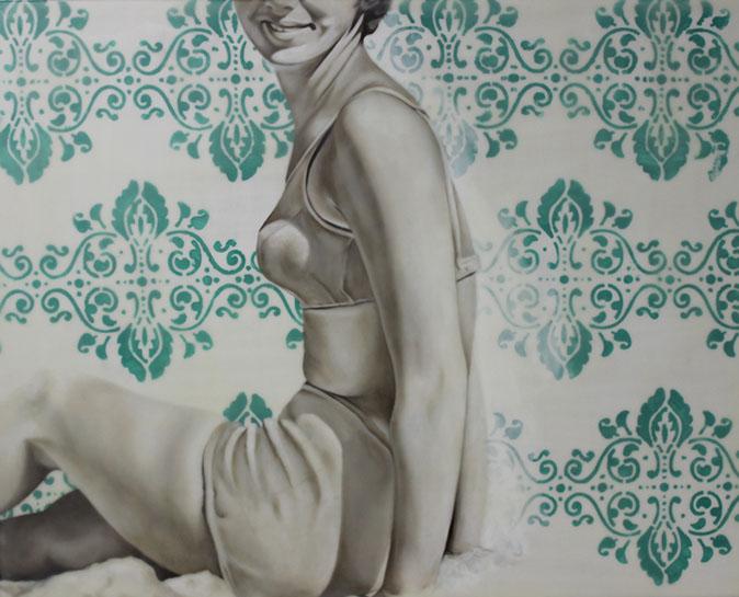 "Jhina Alvarado, ""Untitled Green"", 24""x30"", oil and encaustic on panel"