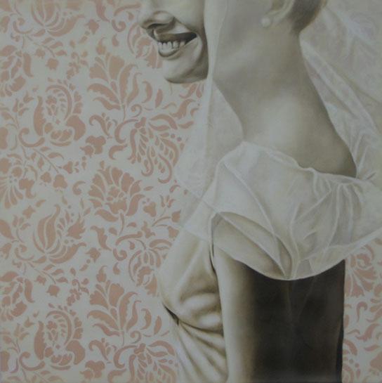 "Jhina Alvarado, ""Lovely"", 24""x24"", oil and encaustic on panel"