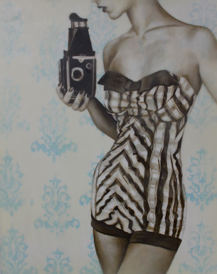 """Jhina Alvarado, """"Smile for the Camera"""", 20""""x16"""", oil and encaustic on panel"""