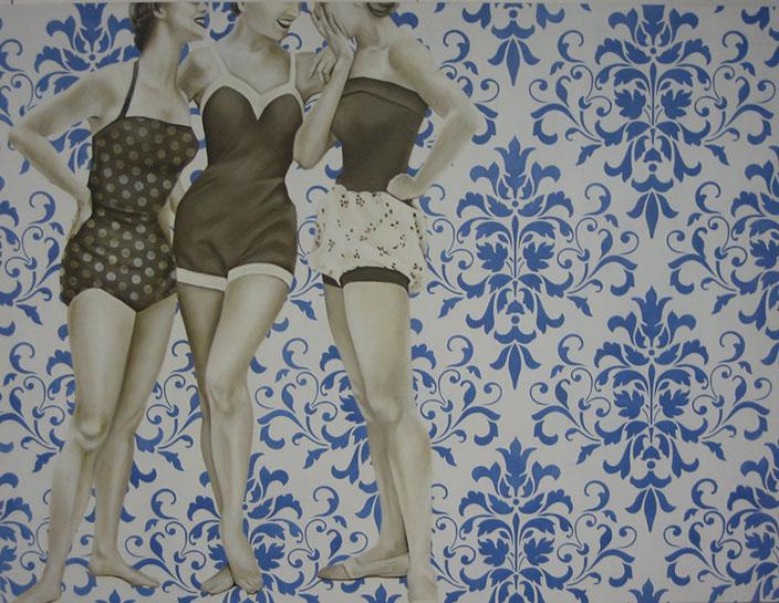 "Jhina Alvarado, ""Three Muses"", 36""x48"", oil and encaustic on panel"