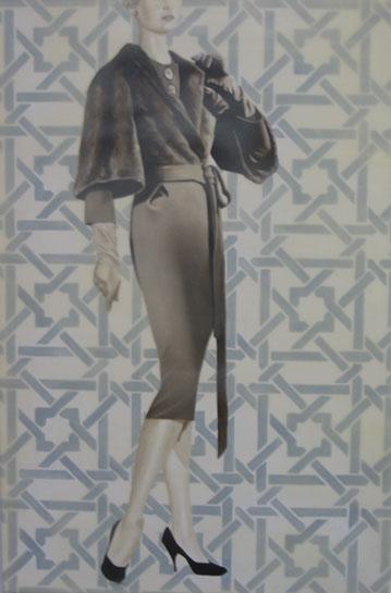 "Jhina Alvarado, ""Fashion Girl 1"", 36""x24"", oil and encaustic on panel"