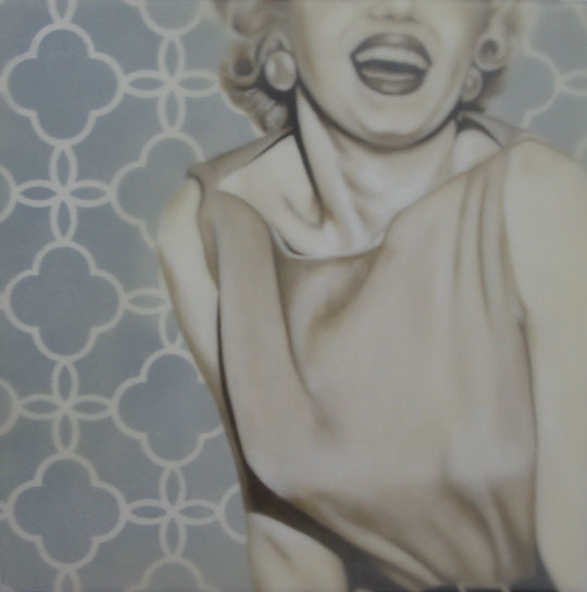 "Jhina Alvarado, ""Laughter"", 12""x12"", oil and encaustic on panel"