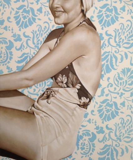 "Jhina Alvarado, ""Sitting in the Sun"", 20""x24"", oil and encaustic on panel"