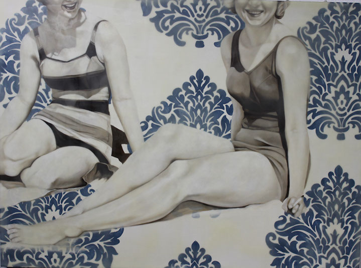 """Jhina Alvarado, """"Two at the Beach"""", 30""""x40"""", oil and encaustic on panel"""