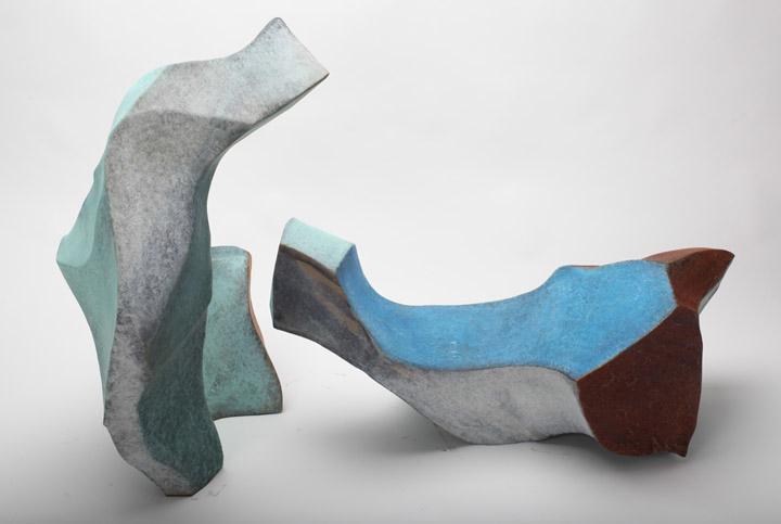 """Jon Krawczyk, """"Two Blue Dudes"""", 58""""x22""""x22"""", patina bronze"""