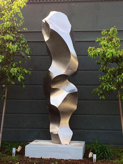 """Jon Krawczyk, """"Petit Glace"""", 11'x5'x5', stainless steel"""