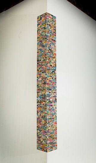 "Jordan Scott, ""Centennial"", vintage stamps with resin on panel"