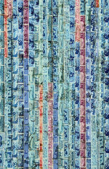 """Jordan Scott, """"Shimmer"""", detail, vintage stamps with resin on panel"""