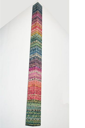 "Jordan Scott, ""Glacier"", 60""x6""x6"", vintage stamps with resin on panel"