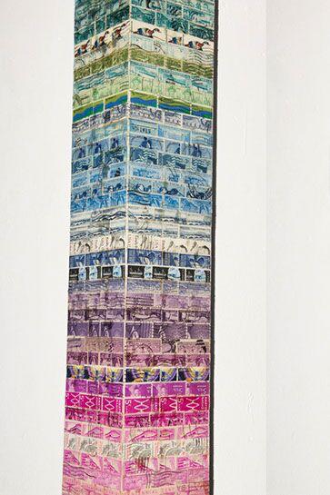 """Jordan Scott, """"Glacier"""", detail, vintage stamps with resin on panel"""