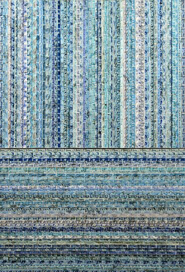 "Jordan Scott, ""Space Between the Rain"", 44""x30"", vintage stamps with resin on panel"