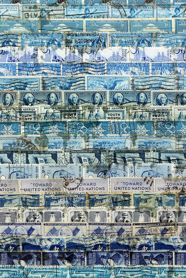 "Jordan Scott, ""Space Between the Rain"", detail, vintage stamps with resin on panel"