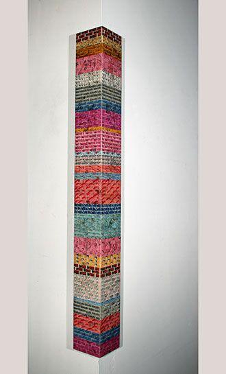 "Jordan Scott, ""Return to Stone Mountain"", vintage stamps with resin on panel"