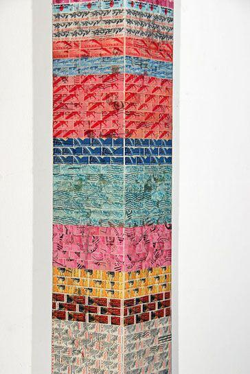 "Jordan Scott, ""Return to Stone Mountain"", detail, vintage stamps with resin on panel"