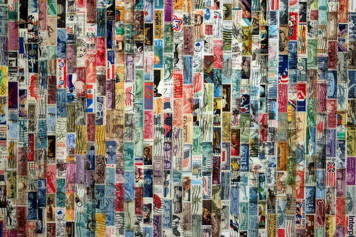 "Jordan Scott, ""Omnis"", detail, vintage stamps with resin on panel"